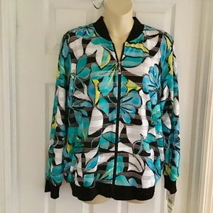 Alfred Dunner Play Date Floral Bomber Style Jacket